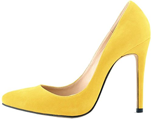 Calaier Womens Caeverybody Pekte Tå 10cm Stiletto Slip-on Pumper Sko Gul
