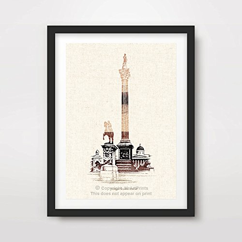 (LONDON TRAFALGAR SQUARE NELSON'S COLUMN ILLUSTRATION ART PRINT Poster Neutral Sepia Home Decor Room Interior Design Wall Picture A4 A3 A2 (10 Size Options))