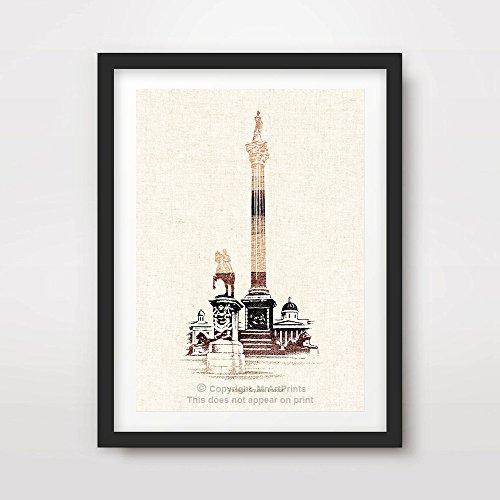LONDON TRAFALGAR SQUARE NELSON'S COLUMN ILLUSTRATION ART PRINT Poster Neutral Sepia Home Decor Room Interior Design Wall Picture A4 A3 A2 (10 Size Options) (Trafalgar London Square)
