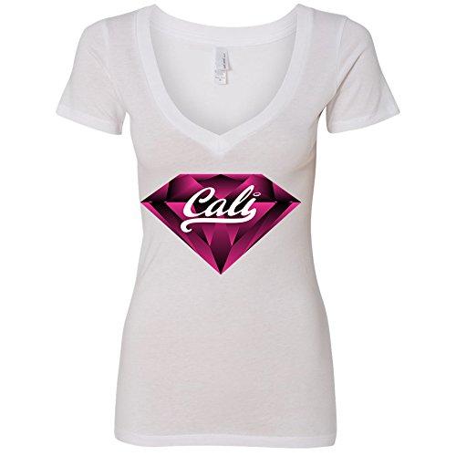 Amazing Items California Republic Cali Pink Diamond Women's V-Neck Shirt, Large, White