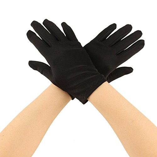 Matte Nylon Stretchy Wrist Length Plain Blank Thin Gloves Dress 1 Pair