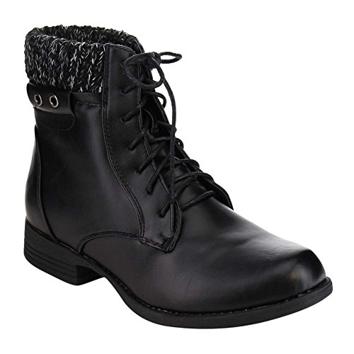 Leather Women's Combat Vegan Ankle Up Booties Sweater Cuff Lace wqxwz76g8
