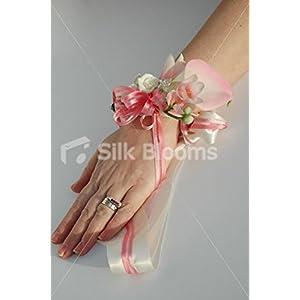 Silk Flower Arrangements Premium Light Pink Beauty Calla Lily & Freesia Wrist Corsage