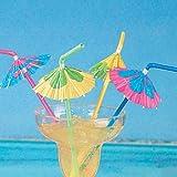 24 Multicolored Cocktail Parasol Umbrella Straws