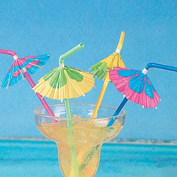 (24 Multicolored Cocktail Parasol Umbrella Straws)