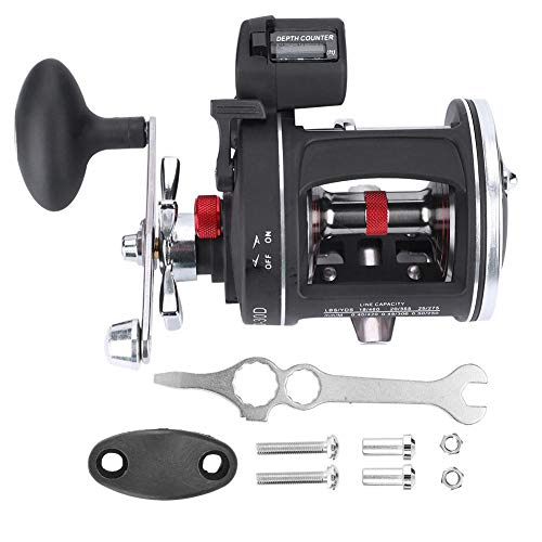 Ginyia 12BB Fishing Reel, 12BB Line Counter Fishing Reel Offshore Angling Fishing Wheel Aluminum Alloy Drum Wheel Fishing Reel with Line Counter ACL600-30D (Left-Handed Black)