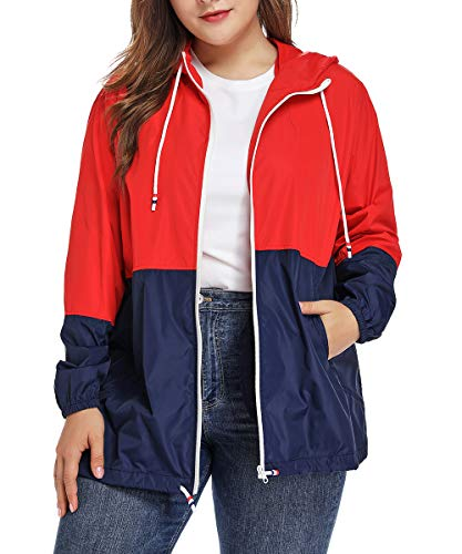 Women's Waterproof Raincoat Outdoor Hooded Rain Jacket Windbreaker Red XL