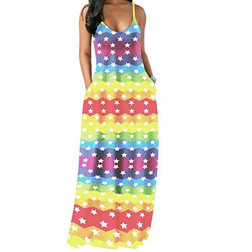 Salimdy Womens Spaghetti Strap Dress Sleeveless - Sexy Tie Dye Print Summer Beach Kaftan Long Maxi Dresses Sundresses Star Medium -