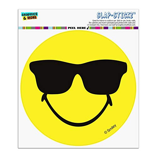 (Graphics and More Smiley Smile Happy Sunglasses Yellow Face Automotive Car Window Locker Circle Bumper Sticker )
