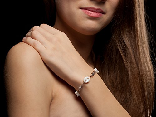 Yves camani-bracelet céramique blanc/argent avec zircons
