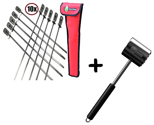 BBQ Skewers Set (10) Extra Long + Meat Tenderizer Mallet Tool - Dishwasher Safe & - Hammer Pounder for Tenderizing Chicken Steak Pork & Veal in Kitchen - Non Slip Silicone Handle (Whole Foods Chicken Cordon Bleu Cooking Instructions)