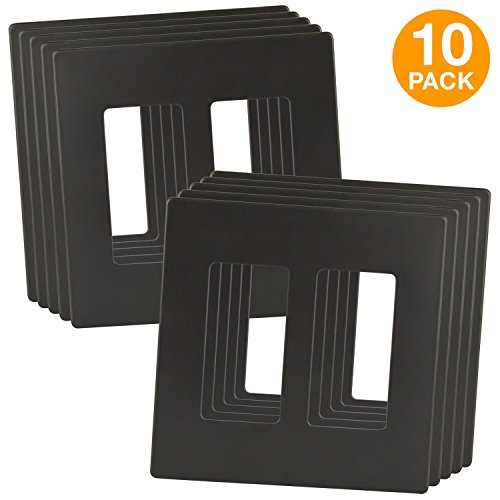 ENERLITES Elite Series Screwless Decorator Wall Plate Child Safe Cover, Standard Size 2-Gang, Unbreakable Polycarbonate Thermoplastic, SI8832-DB, Dark Bronze Color (10 Pack) from ENERLITES