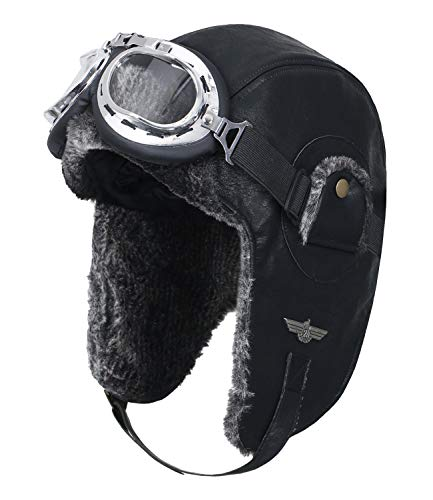 (ililily Faux Leather Aviator Trapper Trooper Faux Fur Ear Flaps Winter Hat, Black, Medium(Goggle))