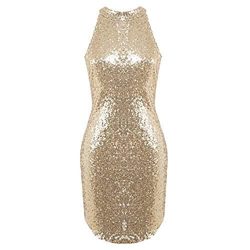 Rodilla Vaina JIZHI Discoteca Vestido Halter Gold Mujer Sobre La XL wq4YCq