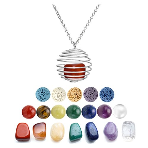 19' Pendant (Top Plaza 3 Pcs Aromatherapy Essential Oil Diffuser Necklace Openable Spiral Cages Pendant Set W/5 Dyed Lava Rock And 7 Chakra Reiki Healing Energy Crystal Beads Irregular Tumble Stone)