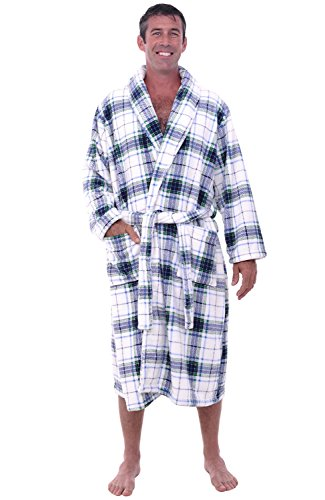 Alexander Del Rossa Mens Fleece Robe, Shawl Collar Bathrobe, Large XL Blue on White Plaid (A0114P06XL) (Fleece Plaid White)