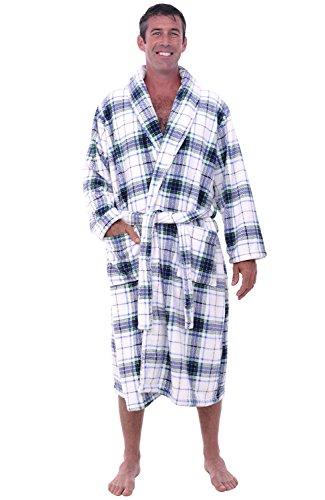 - Alexander Del Rossa Mens Fleece Robe, Shawl Collar Bathrobe, 3XL 4XL Blue on White Plaid (A0114P064X)