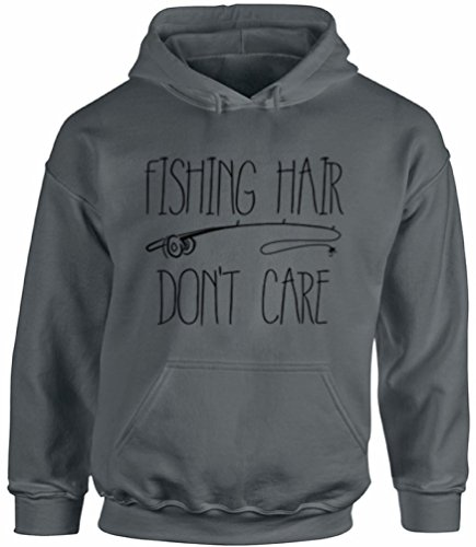 Awkward Styles Unisex Fishing Hair Don`t Care Hoodie Hooded Sweatshirts with A Fishing Rod Charcoal 2XL