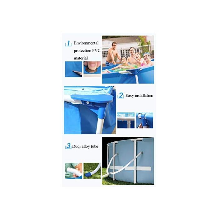 41Sp1YbwKjL ▶ Tamaño del producto: el tamaño de la piscina es de 366 * 76 cm, y la capacidad de almacenamiento de agua es de 2006L, que es adecuada para que los niños jueguen en casa. Ideal para los calurosos días de verano. La doble función de entretenimiento y rompecabezas también es un buen regalo para los niños. ▶ Tela de malla de tres capas: malla de tres capas, material de PVC hecho de natación de alta resistencia, duradera y confiable ▶ Soporte metálico de electrochapado antioxidante: la piscina está conectada con tubos de electrochapado antioxidante para prolongar la vida útil