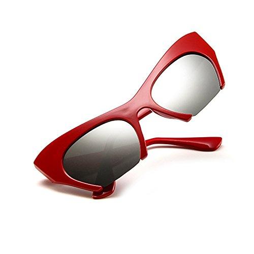 旋律的大きい共和党サングラス 猫目 眼鏡 女性 レトロ ビンテージ クリアレンズ ハーフカットオフフレーム 5163