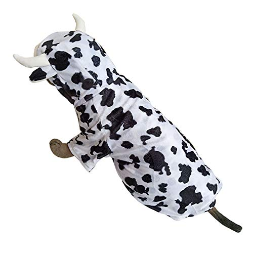 Pineocus Cow Design Pet Dogs Cosplay Coat Dogs Halloween Clothes for Middle Large Dog -