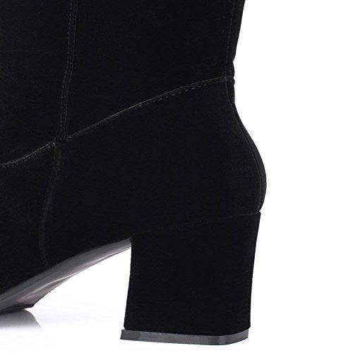 Damen Stiefel Dekoration DecoStain Schwarz Wildleder Faux Stickerei Nubukleder Kniehohe ZxgqOgdF