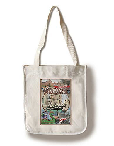 Baltimore Inner Harbor Scenes - Maryland (100% Cotton Tote Bag - Reusable, Gussets, Made in - Maryland The In National Harbor