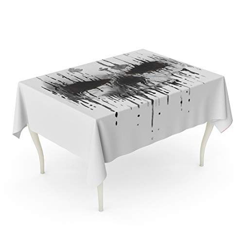 Tarolo Rectangle Tablecloth 60 x 84 Inch Watercolor Tattoo Skull Scary Human Face Horror Death Devil Halloween Drawing Skeleton Table Cloth]()