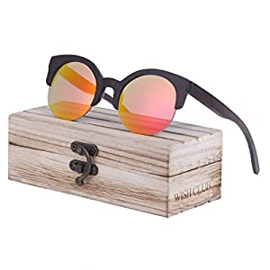 WISH CLUB Half Frame Round Wood Sunglasses Unisex Classic Mirrored Floating Vintage 60s Glasses(Red)