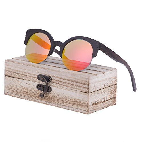 WISH CLUB Half Frame Round Wood Sunglasses Unisex Classic Mirrored Floating Vintage 60s - 60s Round Sunglasses