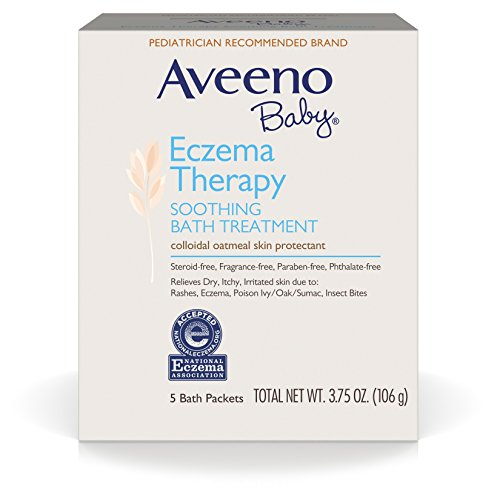 Aveeno Baby Eczema Therapy Soothing Baby Bath Treatment, 5 Count-3.75oz (Pack of 2)
