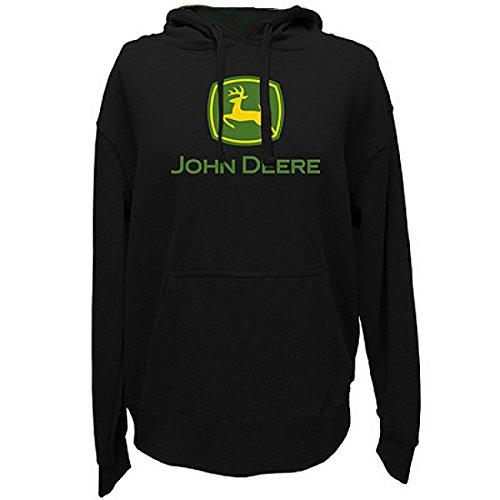 John Deere Men's Trademark Logo Core Hood Pullover Fleece, Black Large from John Deere
