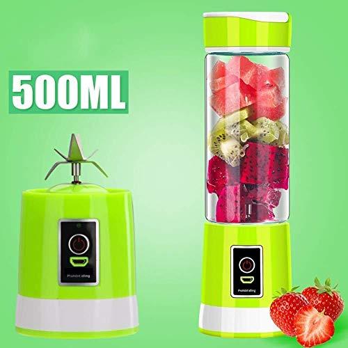 ZH~K Vaso exprimidor portáti Jugo Blender Personal Taza de Jugo eléctrico Copa Multi Función USB Jugo de Cristal de Carga 6 Cuchillas Batido de limón agitación Copa Fácil de Llevar (Color :