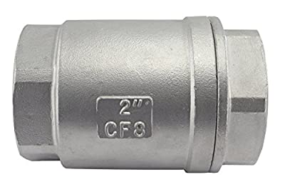 "Duda Energy VCV-WOG1000-F200 Vertical Check Valve, 304 Stainless Steel, 2"" NPT Spring Loaded in-line Low Cracking Pressure, 2"" from Duda Energy"