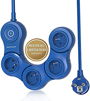 VASTFAFA Multiprise Parasurtenseur Parafoudre,Bloc avec 4 Prises Interrupteur,Adaptateur Douille,Cordon de 1.5m,Bleu /…