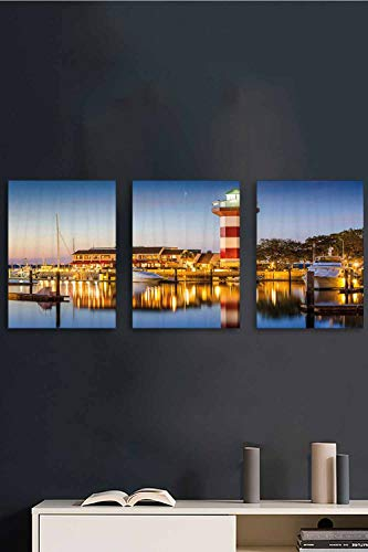 3 Piece Canvas Wall Art, United States Hilton Head Boats Canvas Wall Art, Painting Prints Artwork Decorations for Ready to Hang, 24