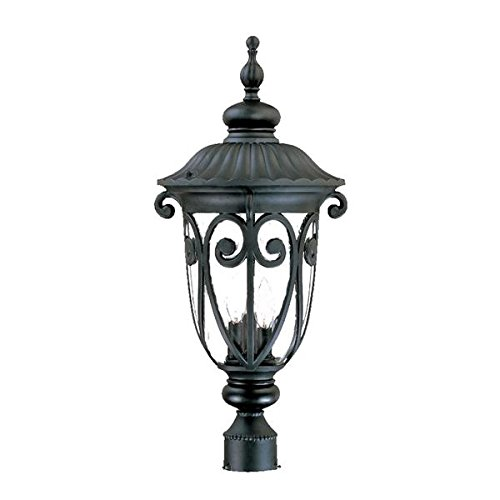 Acclaim 2127BK Naples Collection 3-Light Post Mount Outdoor Light Fixture, Matte Black Acclaim Lighting Naples Collection