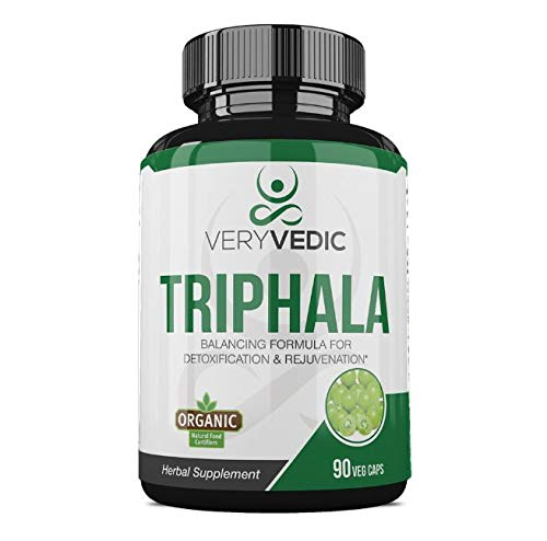 VeryVedic Organic Triphala Herbal Supplement (90 Veggie Capsules) Natural Colon Cleanse Helps Relieve Gas or Bloating | GI Tract Support | Vitamin C and Antioxidants
