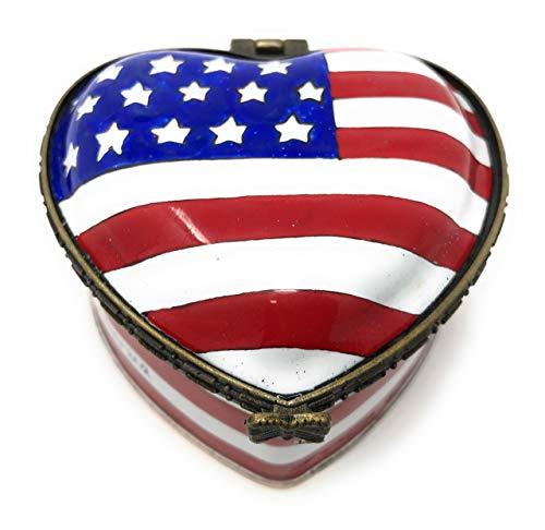 Kelvin Chen American Flag Heart Shaped Trinket Box - God Bless America - Enameled