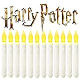 VVMOM Flameless Window Taper Candles,Led Battery Operated Dripless Flickering Candle Lights with Timers for Harry Potter Party Decorations,Christmas Decor,Halloween -12 Packs