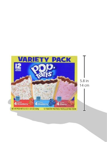 Pop-Tarts Breakfast Toaster Pastries, Flavored Variety Pack, Frosted Strawberry, Frosted Blueberry, Frosted Cherry, 12 Count,(Pack of 12) by Pop-Tarts (Image #8)