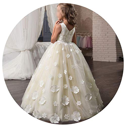 Fancy Flower Long Prom Gowns Teenagers Dresses for Girl Children Party Kids Evening Formal Dress for Bridesmaid Wedding,Flower Dress3,12