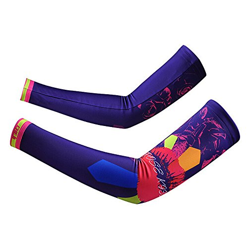 Dance Costumes Seattle (Ezyoutdoor 1 Pair Unisex Comfortable Lycra Skull&Butterfly Series Pattern Sweat Absorption Sports Cooling Arm Sleeves UV & Sun Protection for Bike Cycling Golf Hiking Camping (Kiss Purple, M))