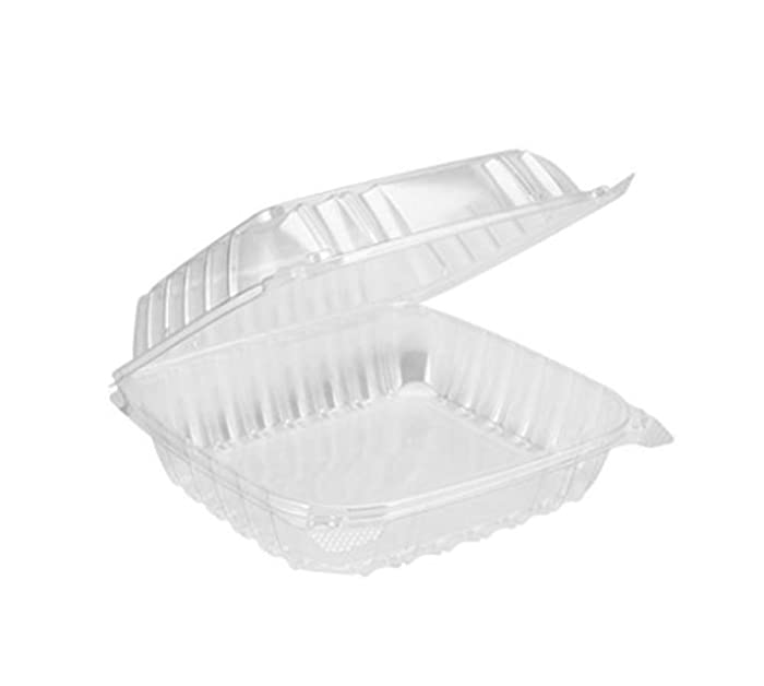 "Dart Solo Dart 8"" x 8""x 3"" Clear Plastic Hinged Food Take-Out Container 1-Compartment (Pack of 25)"