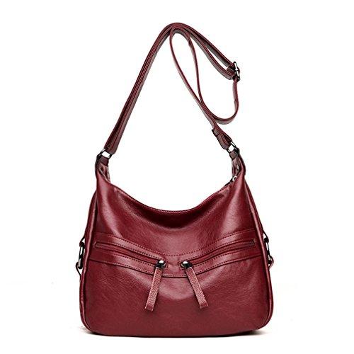kaoling Bolsos de cuero suave bolsos mujeres sólido doble cremallera bolsa Casual Tote para mujeres PURPLE RED WINE