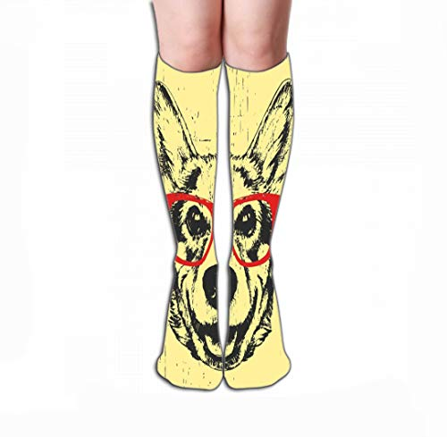 - Men Women Outdoor Sports High Socks Stocking hand drawn pet portrait pembroke welsh corgi glasses Tile length 19.7