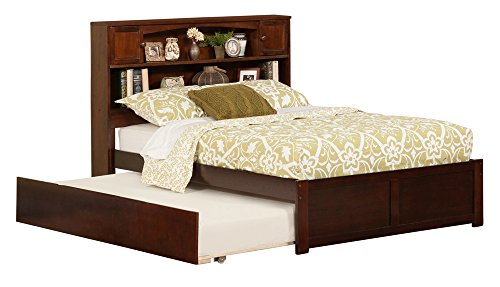Newport Bookcase Bed with Flat Panel Foot Board and Urban Trundle Bed, Full, Antique Walnut