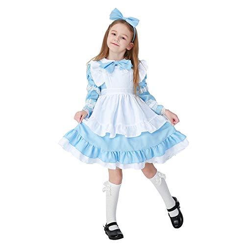 Kids Alice in Wonderland Maid Cosplay Costume Halloween Girls Princess Stage Dress,Sky Blue M