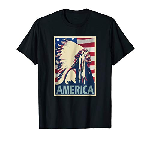 (Sitting Bull Chief America Poster Style T-Shirt)