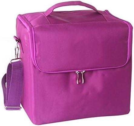YouNITE 旅行ポータブル化粧品収納ボックスの女性の大容量プロフェッショナルメイクアップオーガナイザー美容サロンタトゥーネイルアートツールビン (Color : Purple)
